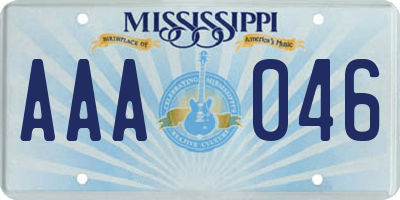 MS license plate AAA046