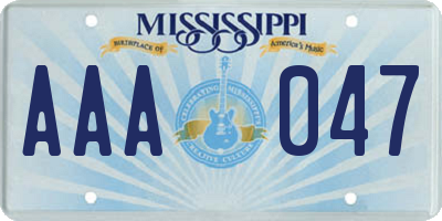 MS license plate AAA047