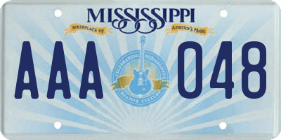 MS license plate AAA048