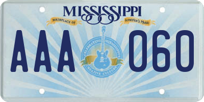 MS license plate AAA060