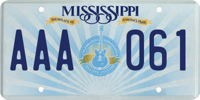 MS license plate AAA061