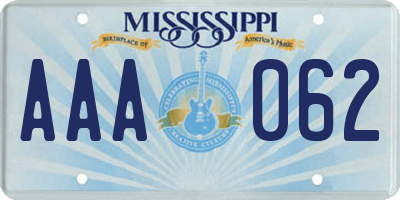 MS license plate AAA062