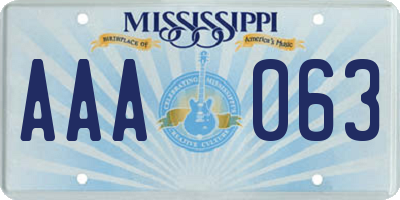 MS license plate AAA063