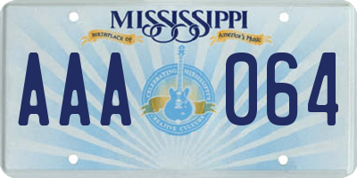 MS license plate AAA064