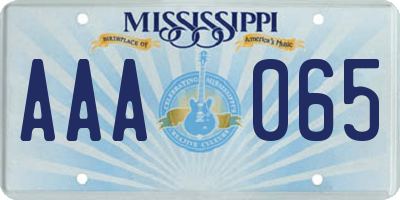 MS license plate AAA065