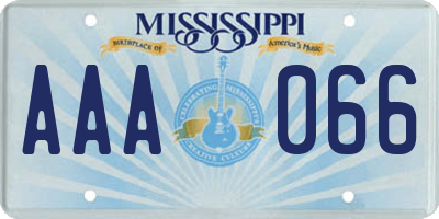 MS license plate AAA066