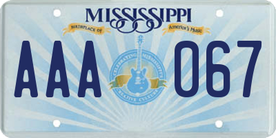 MS license plate AAA067