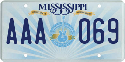 MS license plate AAA069