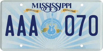 MS license plate AAA070