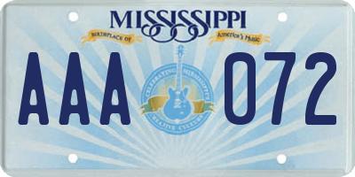 MS license plate AAA072