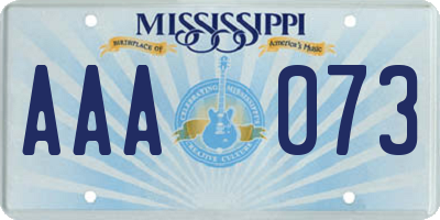 MS license plate AAA073
