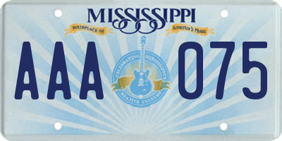 MS license plate AAA075
