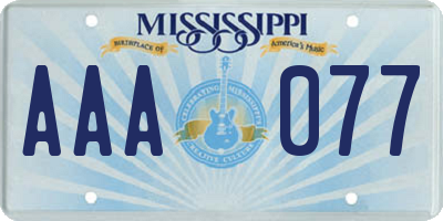 MS license plate AAA077
