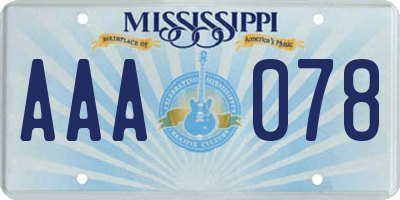 MS license plate AAA078
