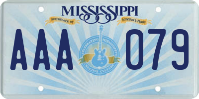 MS license plate AAA079