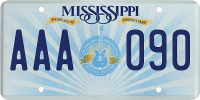 MS license plate AAA090
