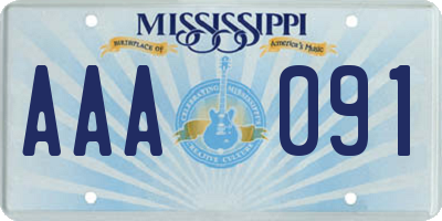 MS license plate AAA091