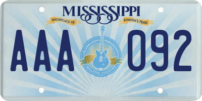 MS license plate AAA092