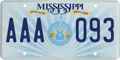 MS license plate AAA093