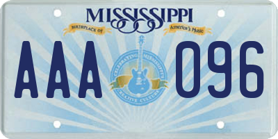 MS license plate AAA096