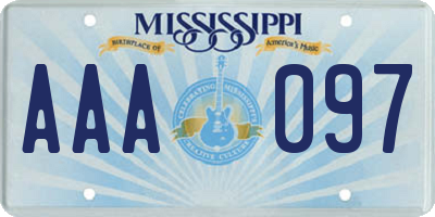 MS license plate AAA097