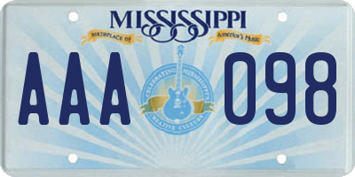 MS license plate AAA098