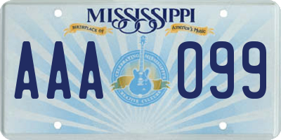 MS license plate AAA099