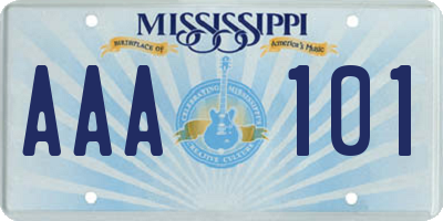 MS license plate AAA101