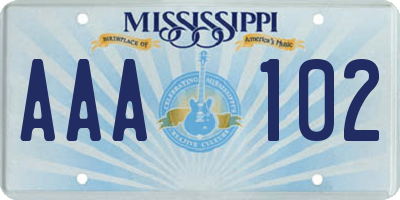 MS license plate AAA102