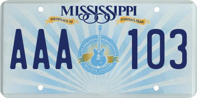 MS license plate AAA103