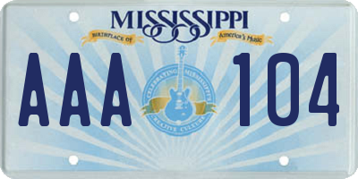 MS license plate AAA104