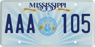 MS license plate AAA105
