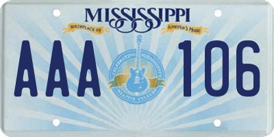 MS license plate AAA106