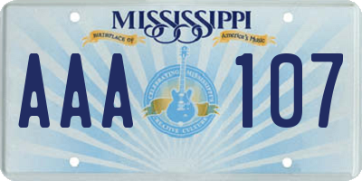 MS license plate AAA107