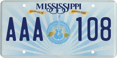 MS license plate AAA108
