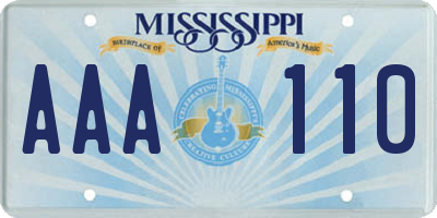MS license plate AAA110