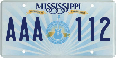 MS license plate AAA112