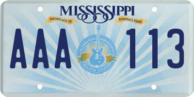MS license plate AAA113