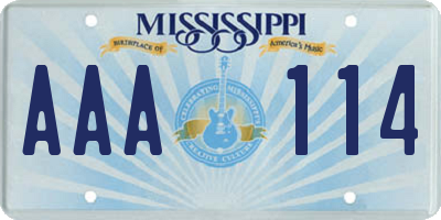 MS license plate AAA114