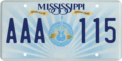 MS license plate AAA115