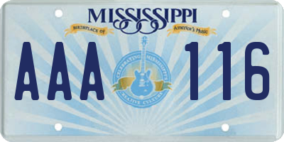 MS license plate AAA116