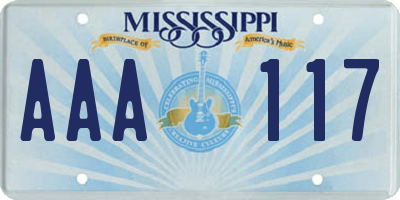 MS license plate AAA117