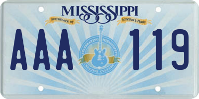 MS license plate AAA119
