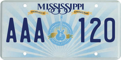 MS license plate AAA120