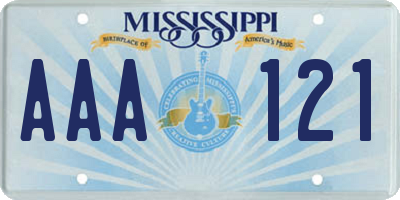MS license plate AAA121
