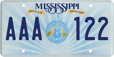 MS license plate AAA122