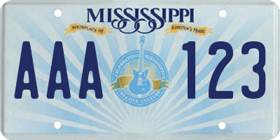 MS license plate AAA123