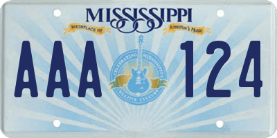 MS license plate AAA124