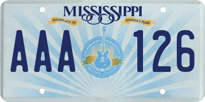 MS license plate AAA126