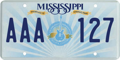 MS license plate AAA127